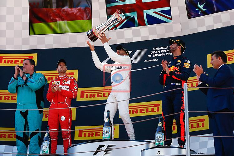 Spanish F1 Grand Prix Pirelli 2017.<br /> Sebastian Vettel (Ferrari), Lewis Hamilton (Mercedes) &amp; Daniel Ricciardo (Red Bull).