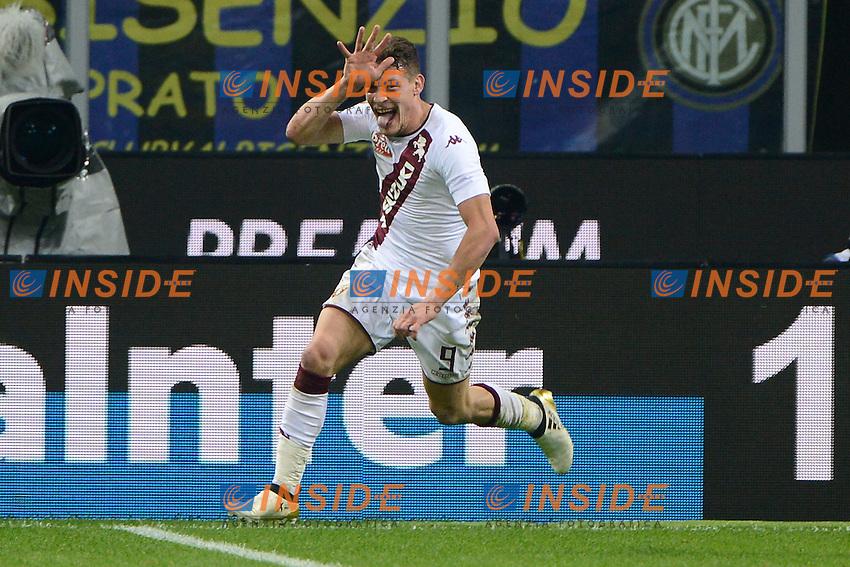 Esultanza gol di Andrea Belotti Torino 1-1. CElebration goal<br /> Milano 26-10-2016 Stadio Giuseppe Meazza - Football Calcio Serie A Inter - Torino. Foto Giuseppe Celeste / Insidefoto
