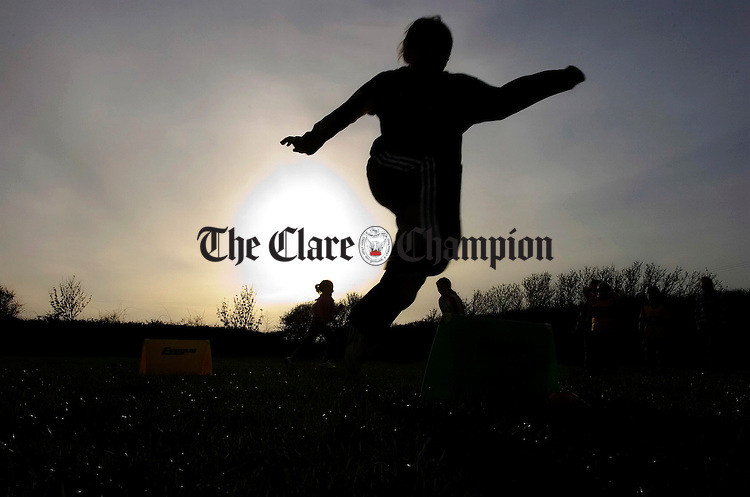 Enjoying the sports activities in O'Curry GAA pitch Doonaha Co Clare.Pic Arthur Ellis.
