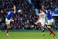 Owen Farrell of England puts boot to ball. Guinness Six Nations match between England and France on February 10, 2019 at Twickenham Stadium in London, England. Photo by: Patrick Khachfe / Onside Images