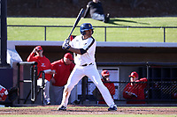 GREENSBORO, NC - FEBRUARY 25: Jacquez Koonce #4 of UNC Greensboro waits for a pitch during a game between Fairfield and UNC Greensboro at UNCG Baseball Stadium on February 25, 2020 in Greensboro, North Carolina.
