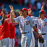 14 April 2018: Washington Nationals first baseman Ryan Zimmerman celebrates a win against the Colorado Rockies at Nationals Park in Washington, DC. The Nationals rallied to defeat the Rockies 6-2 in the 3rd game of their 4-game series. Mandatory Credit: Ed Wolfstein Photo *** RAW (NEF) Image File Available ***