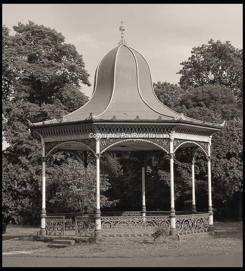 BNPS.co.uk (01202 558833)<br /> Pic: PaulRabbitts/BNPS<br /> <br /> ***Please Use Full Byline***<br /> <br /> The bandstand at Exhibtion Park, Newcastle - Upon - Tyne, was built in 1877 and still stands today.<br /> <br /> A landscape gardener is trumpeting the great British creation of the bandstand after touring the country's parks to study the iconic structures for a new book.<br /> <br /> Paul Rabbitts' work is a celebration of the Victorian platforms and a throwback to the halycon days of outdoor music when thousands of people would gather in public parks for a brass band performance.