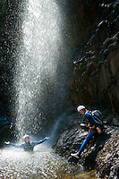 Gulf of Orosei, Sardinia, Italy, September 2012. Riu Pitrisconi is a beautiful gorge located between the towns of San Teodoro and Padru where the flow of water is assured throughout the year. It a great location for beginners level canyoning under guidance by an experienced mountain guide.  Far away from the touristic Costa Esmeralde lies the wildest coastline of Sardinia. The turquoise waters of the Gulf of Orosei are lined by steep limestone cliffs. The wild rocky hinterland, that is home to shepherds who herd their sheep through the scrubby bushes, oak and juniper trees, offers some of the most spectacular hiking in Italy. Photo by Frits Meyst/Adventure4ever.com
