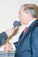 Former Virginia governor and Republican presidential candidate Jim Gilmore is interviewed by Keith Hanson, of the New London-based WNTK talk radio channel at the Radisson Hotel's Radio Row in Manchester, New Hampshire, on Mon., Feb. 8, 2016. Many television and radio stations set up in the hotel for their coverage of the primary in the final days of the campaign. Gilmore finished in last place among major Republican candidates still in the race with a total of 150 votes.