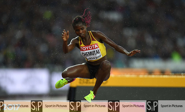PeruthCHEMUTAI (UGA) in the womens 3000m steeplechase heats. IAAF world athletics championships. London Olympic stadium. Queen Elizabeth Olympic park. Stratford. London. UK. 09/08/2017. ~ MANDATORY CREDIT Garry Bowden/SIPPA - NO UNAUTHORISED USE - +44 7837 394578