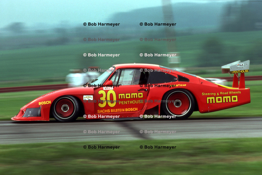LEXINGTON, OH - MAY 31: The Porsche 935/78-81 JR-001 of Gianpiero Moretti and Bobby Rahal is driven during the Red Roof Inns 200 IMSA GT race at the Mid-Ohio Sports Car Course near Lexington, Ohio, on May 31, 1981.