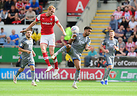 Lincoln City's Bruno Andrade vies for possession with Rotherham United's Shaun MacDonald<br /> <br /> Photographer Chris Vaughan/CameraSport<br /> <br /> The EFL Sky Bet Championship - Rotherham United v Lincoln City - Saturday 10th August 2019 - New York Stadium - Rotherham<br /> <br /> World Copyright © 2019 CameraSport. All rights reserved. 43 Linden Ave. Countesthorpe. Leicester. England. LE8 5PG - Tel: +44 (0) 116 277 4147 - admin@camerasport.com - www.camerasport.com