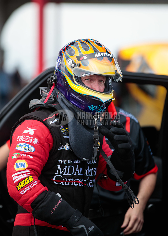 Apr 12, 2019; Baytown, TX, USA; NHRA funny car driver Jack Beckman during qualifying for the Springnationals at Houston Raceway Park. Mandatory Credit: Mark J. Rebilas-USA TODAY Sports