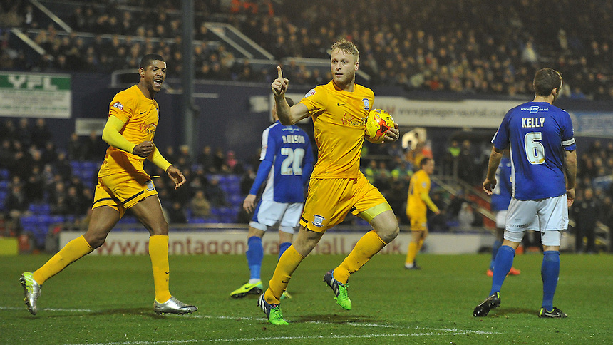 Preston North End's Tom Clarke celebrates scoring his team's second goal which took the game to penalties<br /> <br /> Photographer Dave Howarth/CameraSport<br /> <br /> Football - Johnstone's Paint Trophy Northern Area Quarter-Final - Oldham Athletic v Preston North End - Tuesday 25th November 2014 - SportsDirect.com Park - Oldham<br />  <br /> &copy; CameraSport - 43 Linden Ave. Countesthorpe. Leicester. England. LE8 5PG - Tel: +44 (0) 116 277 4147 - admin@camerasport.com - www.camerasport.com