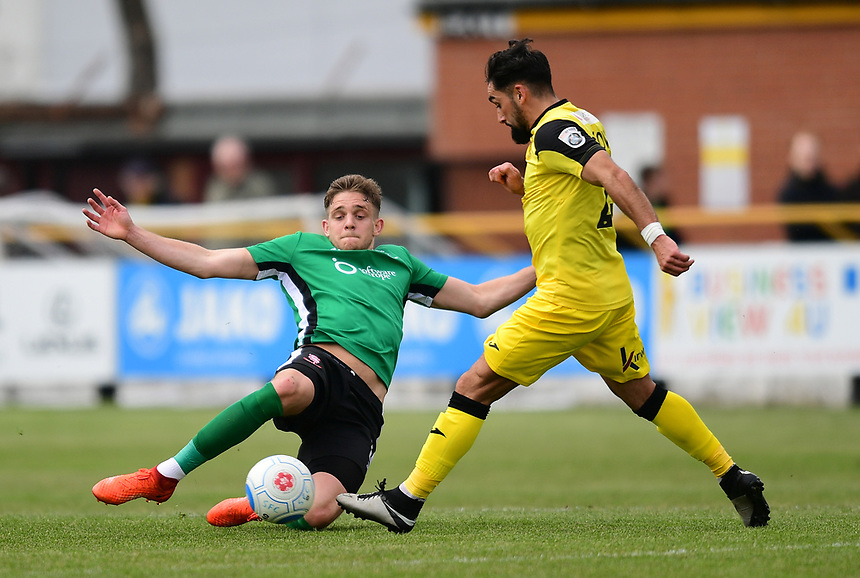 Southport's Rory McKeown is fouled by Lincoln City's Callum Howe<br /> <br /> Photographer Chris Vaughan/CameraSport<br /> <br /> Vanarama National League - Southport v Lincoln City - Saturday 29th April 2017 - Merseyrail Community Stadium - Southport<br /> <br /> World Copyright &copy; 2017 CameraSport. All rights reserved. 43 Linden Ave. Countesthorpe. Leicester. England. LE8 5PG - Tel: +44 (0) 116 277 4147 - admin@camerasport.com - www.camerasport.com