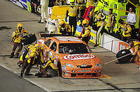 May 2, 2009; Richmond, VA, USA; NASCAR Sprint Cup Series driver Kyle Busch pits during the Russ Friedman 400 at the Richmond International Raceway. Mandatory Credit: Mark J. Rebilas-