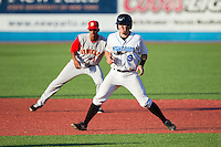 Mac James (9) of the Hudson Valley Renegades takes his lead off of second base against the Brooklyn Cyclones at Dutchess Stadium on June 18, 2014 in Wappingers Falls, New York.  The Cyclones defeated the Renegades 4-3 in 10 innings.  (Brian Westerholt/Four Seam Images)