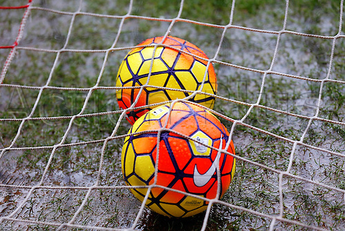 27.02.2016. Britannia Stadium, Stoke, England. Barclays Premier League. Stoke City versus Aston Villa. The warm up balls sit inside the nets