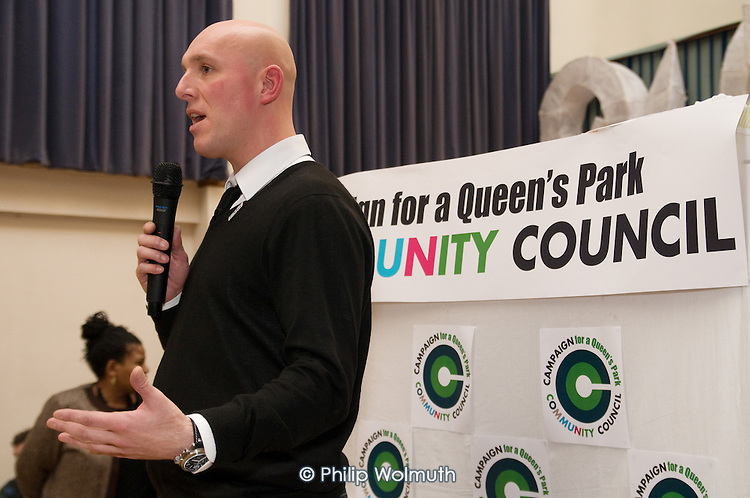 Justin Griggs, Head of Policy and Development at the National Association of Local Councils, speaks at the launch of the campaign for a Queen's Park Community Council at the Beethoven Centre, West London.