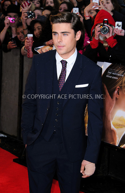 WWW.ACEPIXS.COM . . . . .  ..... . . . . US SALES ONLY . . . . .....April 23 2012, London....Actor Zac Efron at 'The Lucky One' European premiere at the Chelsea Cinema on April 23, 2012 in London, England.....Please byline: FAMOUS-ACE PICTURES... . . . .  ....Ace Pictures, Inc:  ..Tel: (212) 243-8787..e-mail: info@acepixs.com..web: http://www.acepixs.com