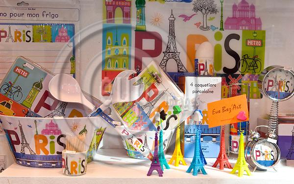 """PARIS - FRANCE - 08 MAY 2011 -- Paris travel city photos. -- The window display of the souvenir shop """"Eva Baz' Art"""" on Rue Saint-Andre des Arts 53. -- PHOTO: Juha ROININEN / EUP-IMAGES"""