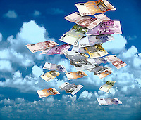 Euro banknotes falling from sky
