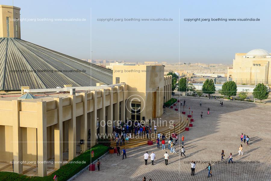 QATAR, Doha, religious complex with churches / KATAR, Doha, Religionskomplex mit Kirchen am Stadtrand, katholische Kirche, philippinische Gastarbeiter in Tagalog Messe