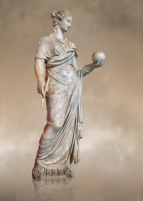 Second century AD Roman statue of Urania holding, the muse of atronomy holding  a globe, the statue was restored from two separte staues of the period, inv 293, Vatican Museum Rome, Italy,  art background