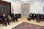 Palestinian President Mahmoud Abbas, meets with Russian President Vladimir Putin, in the West Bank city of Ramallah, on January 23, 2020. Photo by Thaer Ganaim