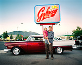 USA, Arizona, grandfather and granddaughter by ford fairlane, Galaxy Diner, Flagstaff