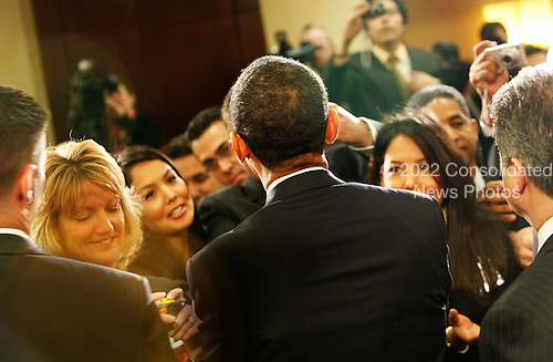 Washington, DC - Mach 10, 2009 -- United States President Barack Obama  shakes hands after delivering remarks on education reforms at the U.S. Hispanic Chamber of Commerce's 19th Annual Legislative Conference at the Washington Marriott, Washington DC, Tuesday, March 10, 2009..Credit: Aude Guerrucci - Pool via CNP