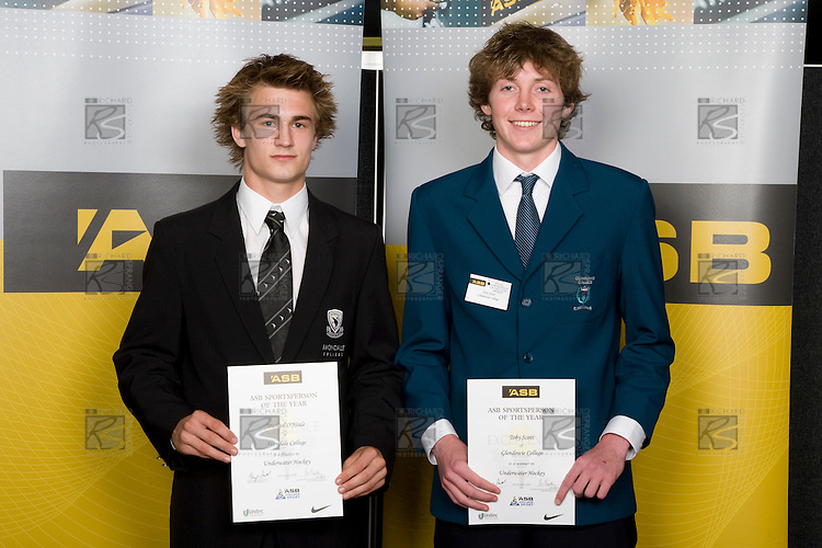 Boys Underwater Hockey finalists Michael O'Neale & Toby Scott. ASB College Sport Young Sportperson of the Year Awards 2008 held at Eden Park, Auckland, on Thursday November 13th, 2008.