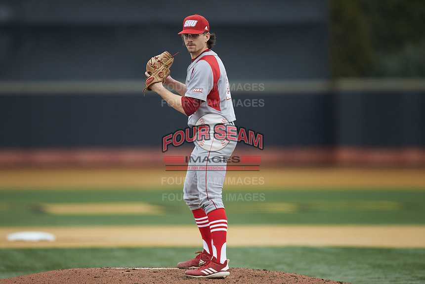 Sacred Heart Pioneers starting pitcher Brent Teller (24) looks to his catcher for the sign against the Wake Forest Demon Deacons at David F. Couch Ballpark on February 15, 2019 in  Winston-Salem, North Carolina.  The Demon Deacons defeated the Pioneers 14-1. (Brian Westerholt/Four Seam Images)