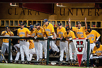 SANTA CLARA, CA--The Cal dugout celebrates during a 6-2 win over Dallas Baptist University at Stephen Schott Stadium on the Santa Clara University campus in Santa Clara, CA. The win gives the Cal Bears a berth to the College World Series in Omaha, Nebraska. SUNDAY, JUNE 12, 2011.