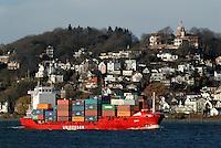 Unifeeder: EUROPA, DEUTSCHLAND, HAMBURG, (EUROPE, GERMANY), 26.11.2007: Container,  Hamburger Hafen, Elbe, Schiff, Seeschiff, Containerschiff, Logistik, Transport, Wirtschaft, Boom, Unifeeder, Blankenese, Rederei, Aufwind-Luftbilder.c o p y r i g h t : A U F W I N D - L U F T B I L D E R . de.G e r t r u d - B a e u m e r - S t i e g 1 0 2, .2 1 0 3 5 H a m b u r g , G e r m a n y.P h o n e + 4 9 (0) 1 7 1 - 6 8 6 6 0 6 9 .E m a i l H w e i 1 @ a o l . c o m.w w w . a u f w i n d - l u f t b i l d e r . d e.K o n t o : P o s t b a n k H a m b u r g .B l z : 2 0 0 1 0 0 2 0 .K o n t o : 5 8 3 6 5 7 2 0 9.C o p y r i g h t n u r f u e r j o u r n a l i s t i s c h Z w e c k e, keine P e r s o e n l i c h ke i t s r e c h t e v o r h a n d e n, V e r o e f f e n t l i c h u n g  n u r  m i t  H o n o r a r  n a c h M F M, N a m e n s n e n n u n g  u n d B e l e g e x e m p l a r !.