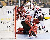 Matt McCollem (Harvard - 23), Drew Daniels (Northeastern - 24), Chris Rawlings (Northeastern - 37) - The Northeastern University Huskies defeated the Harvard University Crimson 4-0 in their Beanpot opener on Monday, February 7, 2011, at TD Garden in Boston, Massachusetts.