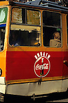 Sofia, Bulgaria. Coca-cola sign in cyrillic script on the side of a tram.