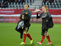 20171020 - LEUVEN , BELGIUM : Belgian Maud Coutereels and Jana Coryn (r) pictured during the female soccer game between the Belgian Red Flames and Romania , the second game in the qualificaton for the World Championship qualification round in group 6 for France 2019, Friday 20 th October 2017 at OHL Stadion Den Dreef in Leuven , Belgium. PHOTO SPORTPIX.BE | DAVID CATRY