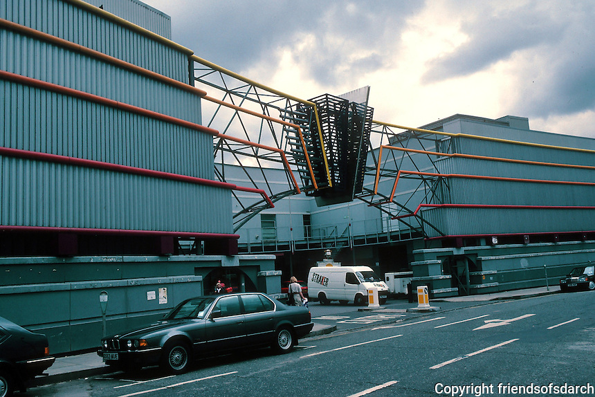 Terry Farrell: TV-AM, Camden Lock. Industrial building. Entrance. Photo '90.