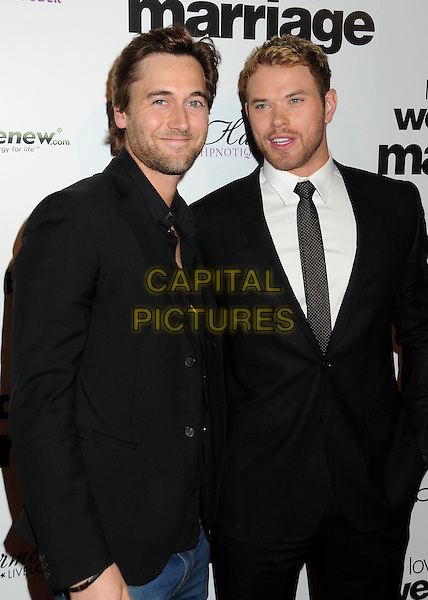 "RYAN EGGOLD & KELLAN LUTZ.Premiere of ""Love, Wedding, Marriage"" held at The Pacific Design Center in Beverly Hills, California, USA..May 17th, 2011.half length suit jacket tie black white facial hair stubble beard.CAP/ADM/BP.©Byron Purvis/AdMedia/Capital Pictures."
