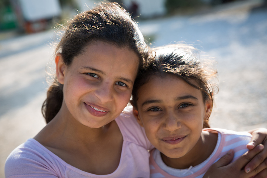 Refugee sisters, Naima and Hawla Abdulhamid at Kara Tepe site on the Greek island of Lesvos.