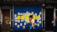 Pictured: Art on the outside disused pub The Shoulder of Mutton, High Street, Swansea. Saturday 15 July 2017<br />