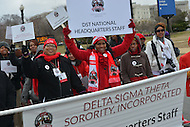 March 3, 2013  (Washington, DC)  The Delta Sigma Theta Sorority leads a re-enactment of the 1913 Woman's Suffrage March down Pennsylvania Avenue in Washington, D.C.  (Photo by Don Baxter/Media Images International)