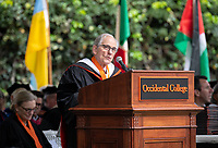 Conferring of Honorary Degree and Response - John G. Power '58, Trustee.<br /> Families, friends, faculty, staff and distinguished guests celebrate the class of 2019 during Occidental College's 137th Commencement ceremony on Sunday, May 19, 2019 in the Remsen Bird Hillside Theater.<br /> (Photo by Marc Campos, Occidental College Photographer)