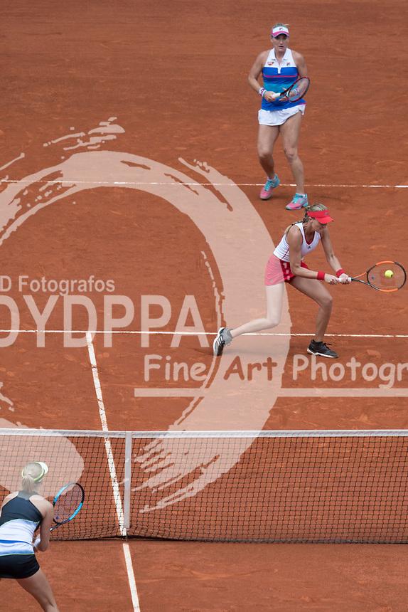 katerina Makarova/ Elena Vesnina win the final against Timea Babos/ Kristina Mladenovic during theMutua Madrid Open tennis match, Master 1000 at Caja Magica in Madrid on May 12, 2018.
