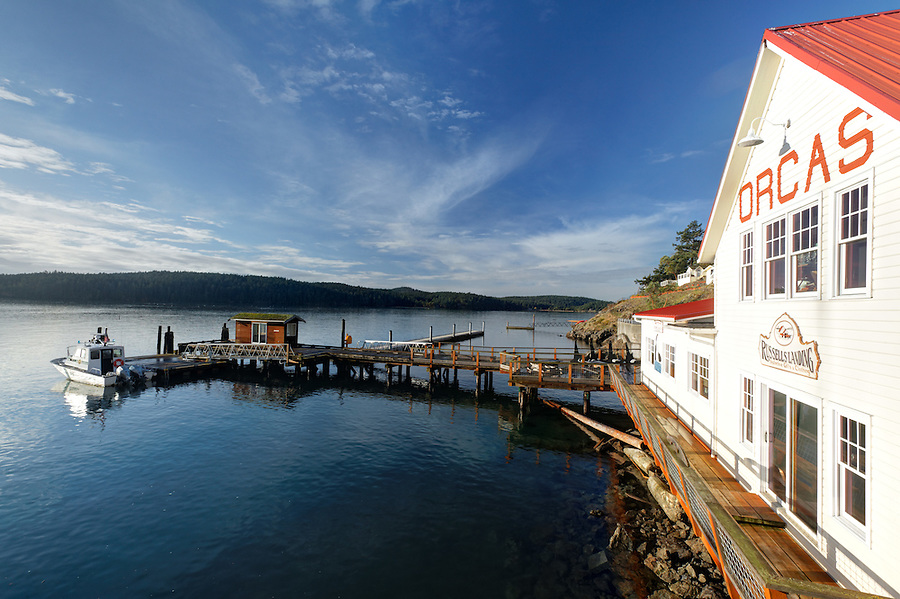 Russells' Landing and Eclipse Charters on Orcas Village waterfront, Orcas Island, San Juan Islands, San Juan County, Washington State, USA