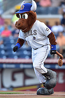 Durham Bulls mascot Wool E Bull during a game against the Toledo Mud Hens at Durham Bulls Athletic Park on July 25, 2014 in Durham, North Carolina. The Mud Hens defeated the Bulls 5-3. (Tony Farlow/Four Seam Images)