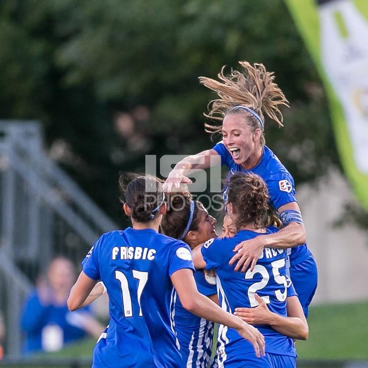 Allston, Massachusetts - August 4, 2017:  In a National Women's Soccer League (NWSL) match, Boston Breakers (blue) tied FC Kansas City (white), 2-2, at Jordan Field.<br /> Goal celebration.