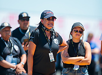 Jul 27, 2019; Sonoma, CA, USA; Monica Salinas, mother of NHRA pro stock motorcycle rider Jianna Salinas during qualifying for the Sonoma Nationals at Sonoma Raceway. Mandatory Credit: Mark J. Rebilas-USA TODAY Sports