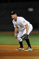 First baseman Jerrick Suiter (50) of the Bristol Pirates in a game against the Greeneville Astros on Saturday, July 26, 2014, at DeVault Memorial Stadium in Bristol, Virginia. Greeneville won, 4-0 in Game 2 of a doubleheader. (Tom Priddy/Four Seam Images)