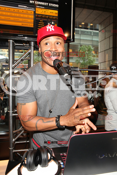 Grammy Award-winning rapper, LL Cool J  appears at an in store to demonstrate Sony's new software application 'My Connect Studio' for the VAIO E14P laptop at the new Sony store in New York City. June 20, 2012. © Diego Corredor/MediaPunch Inc NORTEPHOTO.COM<br />