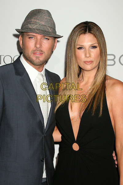 "MATT GOSS & DAISY FUENTES.1st Annual ""Class of Hope Prom 2007"" Charity Benefit at the Sportman's Lodge, Studio City, California, USA. .April 21st, 2007.half length black dress plunging neckline grey gray suit jacket hat beard facial hair .CAP/ADM/BP.©Byron Purvis/AdMedia/Capital Pictures"