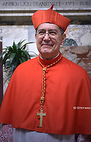 New Cardinal, Spanish prelate Miguel Angel Ayuso Guixot poses as he meets with relatives and friends during a courtesy visit following his appointment by the Pope, during an Ordinary Public Consistory for the creation of new cardinals on October 5, 2019 in the Vatican. Pope Francis appoints 13 new cardinals at the 2019 Ordinary Public Consistory, choosing prelates whose lifelong careers reflect their commitment to serve the marginalized and local church communities, hailing from 11 different nations and representing multiple religious orders.