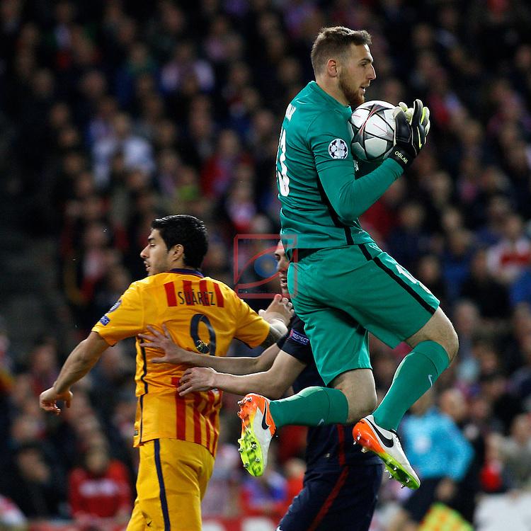UEFA Champions League 2015-2016.<br /> Quarter-finals Second leg.<br /> Club Atletico de Madrid vs FC Barcelona: 2-0.<br /> Luis Suarez vs Jan Oblak.